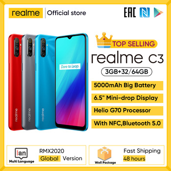 realme C3 Unlockphone 3GB RAM 64GB ROM Mobile Phone Helio G70 12MP Camera 6.5