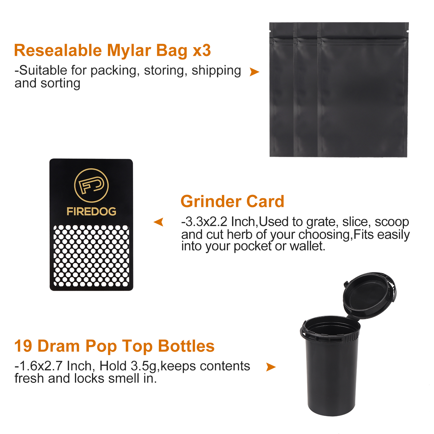 FIREDOG Smoking Smell Proof Case with Lock Kit  Stash Case with Rolling Tray Tobacco Cigarettes Bag Set 5