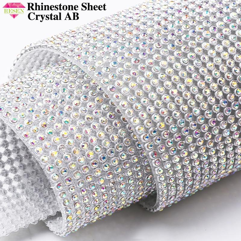RESEN 45X10CM/PCS Adhesive Hotfix Glass Crystal AB Rhinestone Sheet Sliver Base Diamond Wrap For DIY Party Stage Decoration