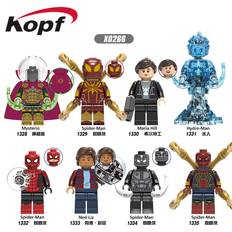 X0266 Spiderman Movie Far From Home Building Blocks Mysterio Maria Hill HydroMan Ned-Liz Miniture Figures Gift For Children Toys
