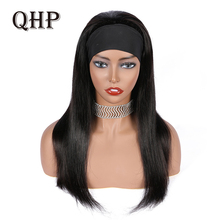 Wig 180%Density Human-Hair Women Straight for Glueless Scarf Brazilian with Headband