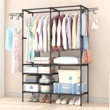 цена на Simple Fashion Coat Rack Large Capacity Bedroom Wardrobe Closet Clothes Hanger Mutifunctional Storage Organizer Floor Shelf