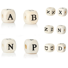 Doreen Box Wood Spacer Beads Cube Natural Letter Pattern DIY About 10.0mm( 3/8) x 3/8), Hole: Approx 4.0mm, 30 PCs