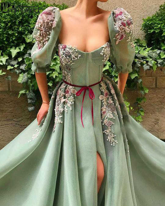 Mint Groene Moslim Avondjurk 2020 Half Mouwen Hoge Split Lace Kralen A-lijn Dubai Arabisch Avondjurken Prom Dresses Lange