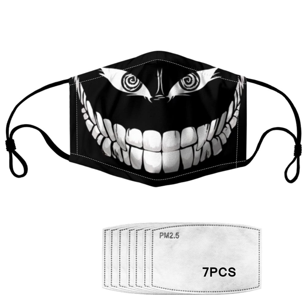 Dust-proof Mask Funny Teeth PM2.5 7PCS Filters Tooth Printed Winter Health Prevent Infection Women Kids Masks Dropshipping Free
