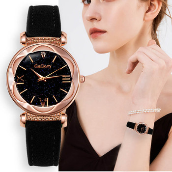 Exquisite leather women watches fashion rose gold ladies bracelet watch romantic starry design women's dress watch reloj mujer
