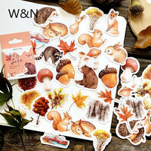 46 шт/кор Осенняя наклейка для дневника леса лисы растений kawaii