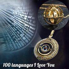 Colar astronômico de projeção de bola, colar criativo de 100 línguas, eu te amo, colar de pingente de joia para casal