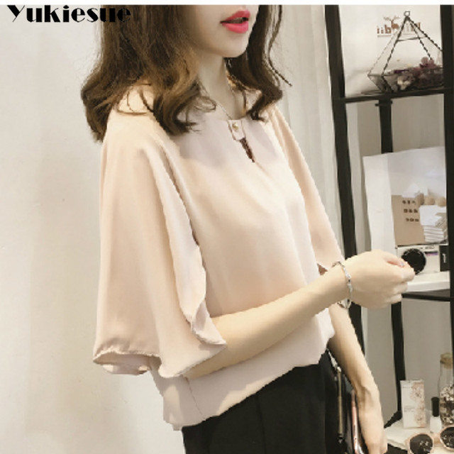 short sleeve 2020 summer women's shirt blouse for women blusas womens tops and blouses chiffon shirts ladie's top plus size 5