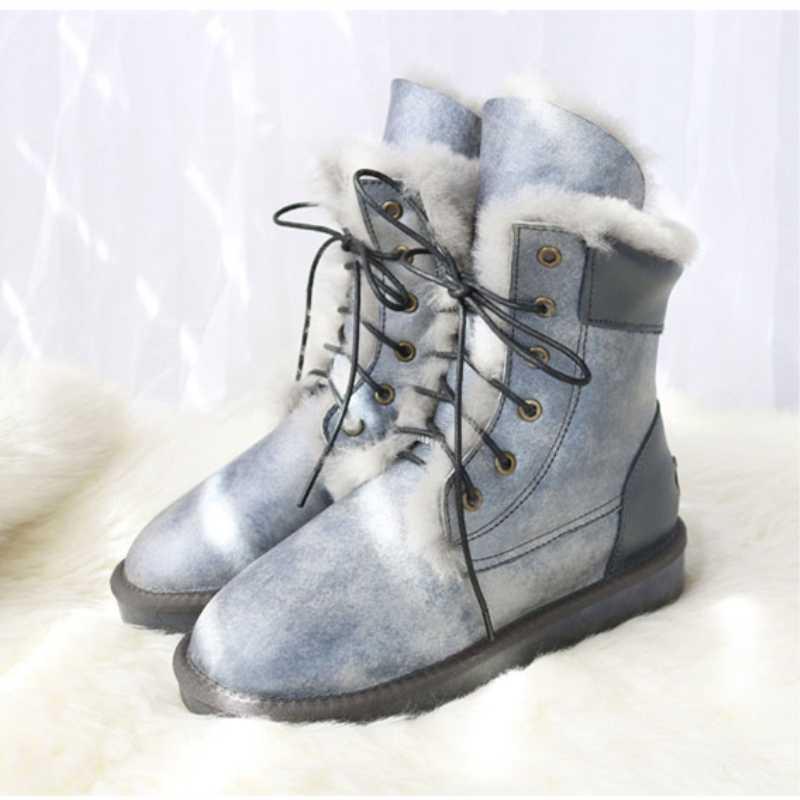 G & Zaco hakiki koyun derisi deri kar botları kadın yün botları su geçirmez dantel doğal koyun kürk orta buzağı kış kadın düz