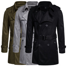 Jacket Trench-Coat Streetwear Double-Breasted Casual Slim 5XL Solid Long Couple Oversized