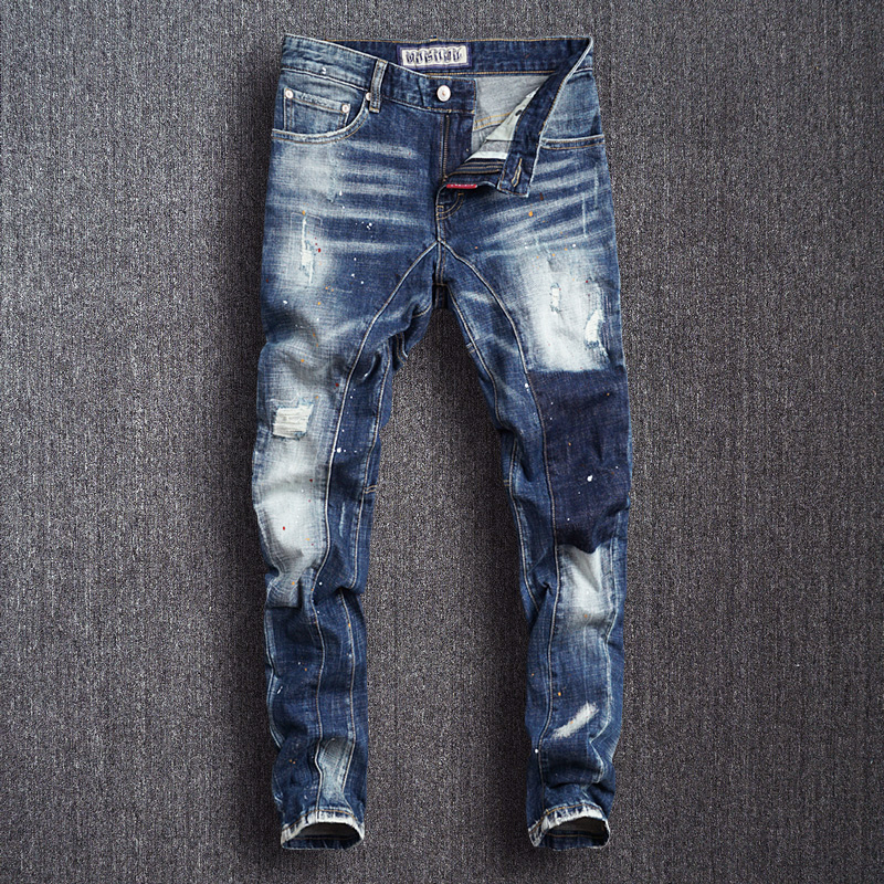 Italian Fashion Men Jeans Vintage Designer Spliced Slim Ripped Jeans Men Hip Hop Pants High Quality Streetwear Biker Jeans Homme