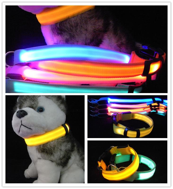 Pet Collar Solid Color Double-Sided Translucent LED Glowing Dog Collar Flash Nylon Collar Night Light Bandana