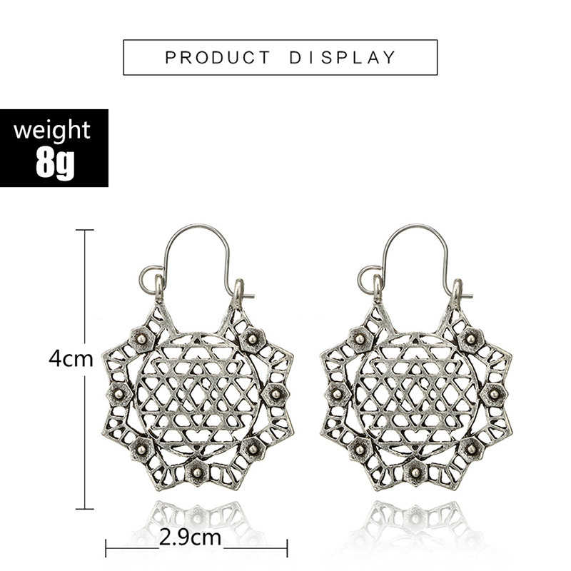 H883d1342eeac4512876facfc73501cae0 - HuaTang Vintage Gold Silver Color Metal Dangle Hollow Earrings for Women Geometric Carved Ethnic Earring Indian Jewellery brinco