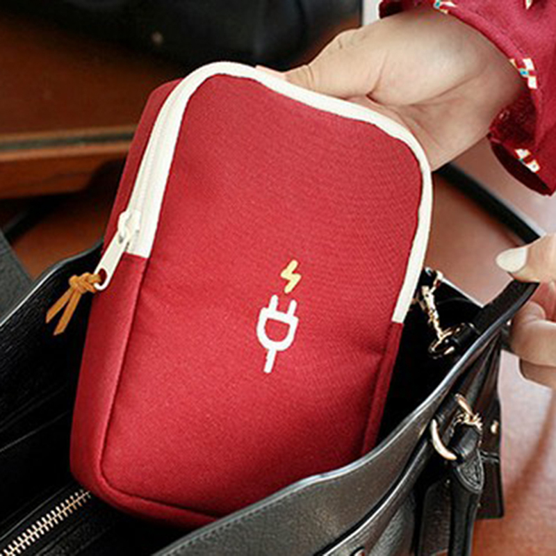2020 Digital Storage Bag Mobile Phone Data Cable Charger Fingertips Package Cute Zipper Bag Portable Zip Lock Organizer Case