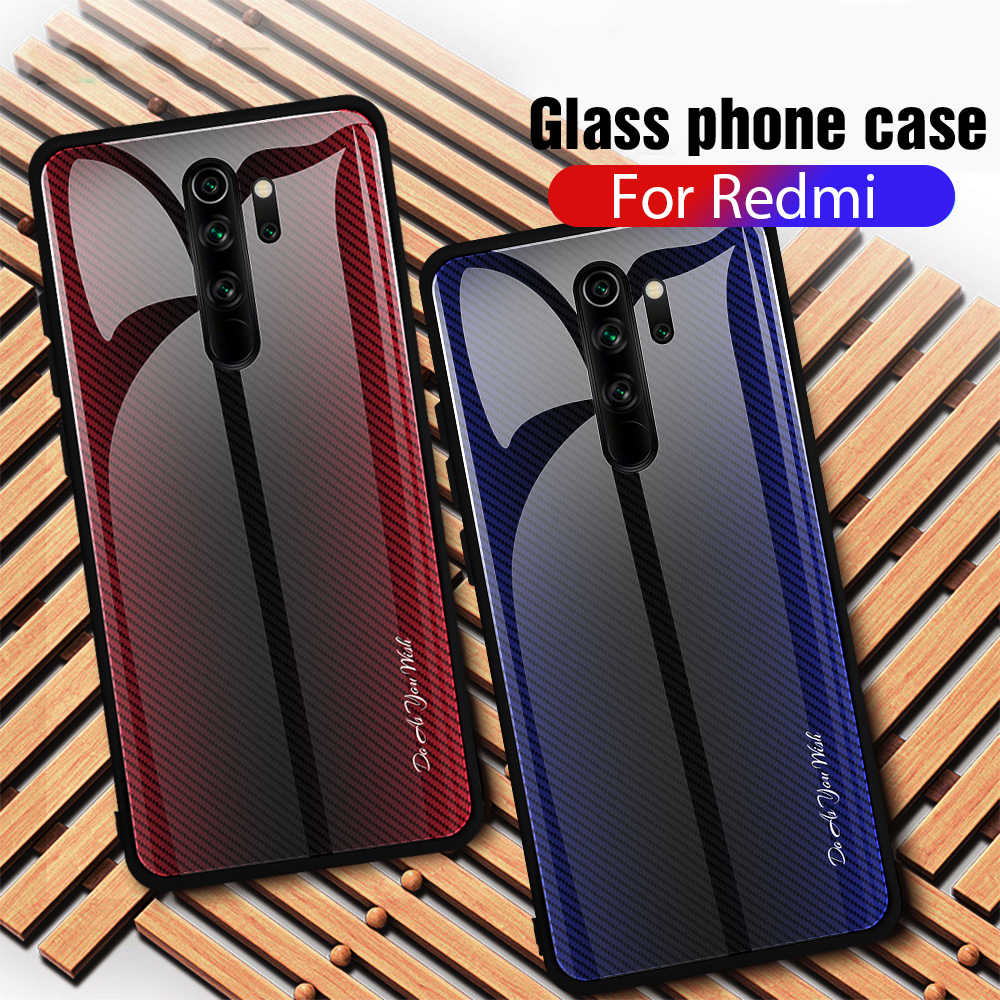 Tempered Glass Case untuk Xiaomi Redmi Note 7 8 5 6 Pro Glossy Stained Gradien Warna-warni Shockproof Hard Case untuk redmi 8 7 8A 7A