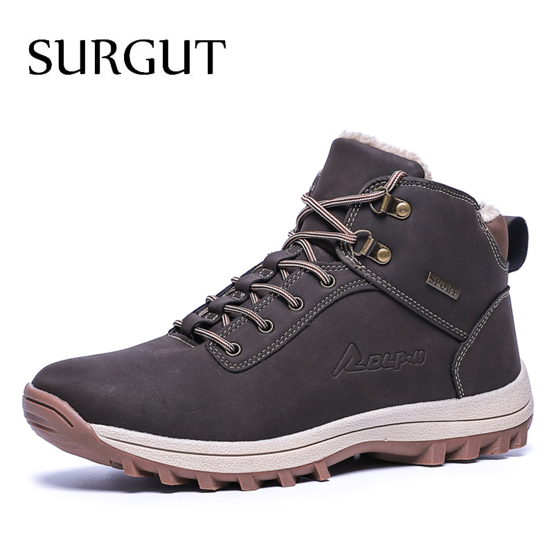 SURGUT  2019 Fashion Winter Snow Boots For Men Male Casual Shoes Adult Quality Rubber High Top Super Warm Plush Warm Ankle Boots