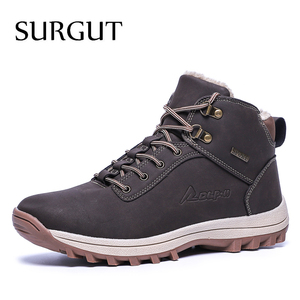 Image 1 - SURGUT  2021 Fashion Winter Snow Boots For Men Male Casual Shoes Adult Quality Rubber High Top Super Warm Plush Warm Ankle Boots