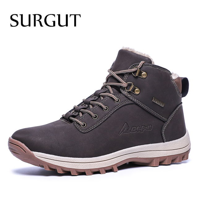 SURGUT  2021 Fashion Winter Snow Boots For Men Male Casual Shoes Adult Quality Rubber High Top Super Warm Plush Warm Ankle Boots
