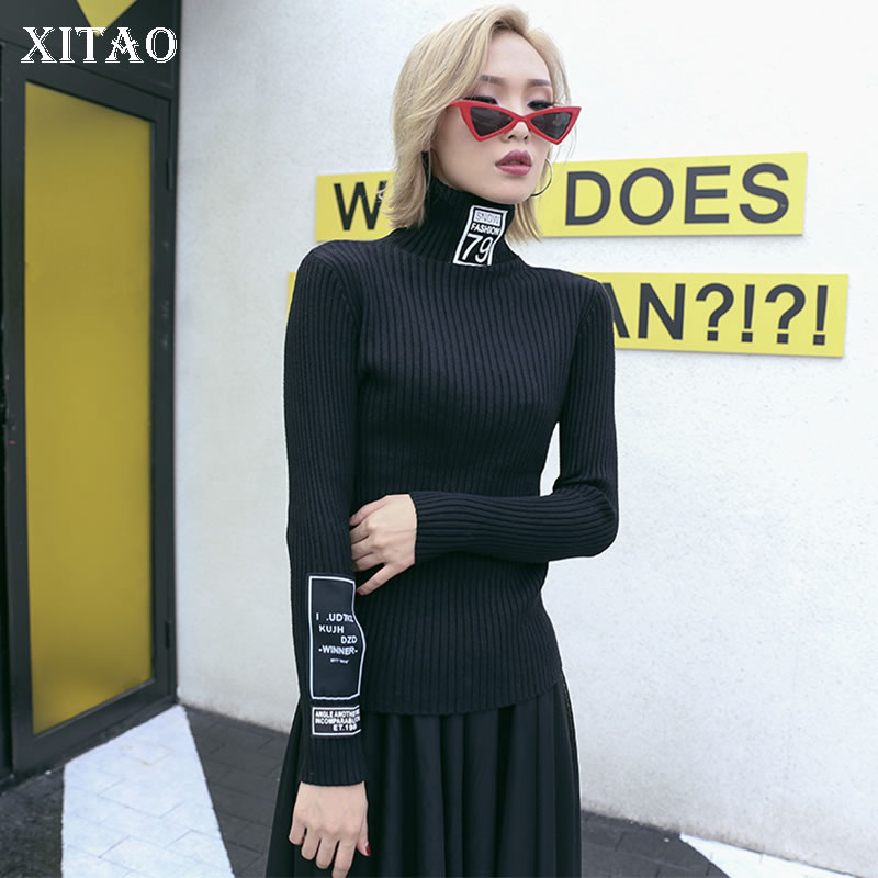 XITAO Patchwork Letter Slim Black Sweater Women Clothes 2019 Fashion Turtleneck Full Sleeve Match All Knitted Sweater XJ2235