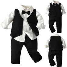 Baby Gentleman Toddler Boys Bow Tie T-Shirt Plaid Solid Waistcoat+Pants Outfit
