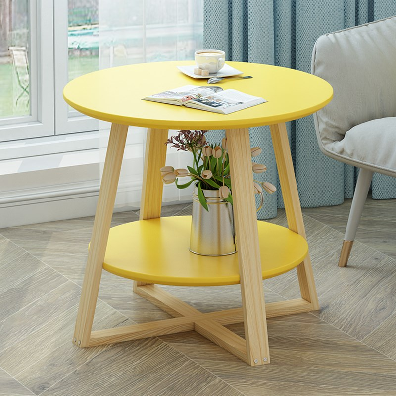Nordic Solid Wood Simple Coffee Table Living Room Table Ins Small Round Table Small Apartment Creative Balcony Small Round Table
