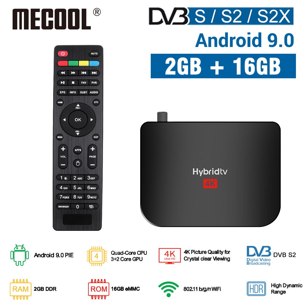 Mecool Satellite Receiver DVB S2/S2X Android 9.0 2GB 16GB Amlogic S905X2 WiFi <font><b>4K</b></font> <font><b>TV</b></font> <font><b>Box</b></font> PVR Recording M8S PLUS Console image