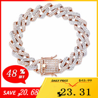 JINAO Fashion 14mm Cuban Link Bracelet Micro Pave AAA Cubic Zircon Chain Bracelet All Iced Out Charm Hip Hop Jewelry For Male
