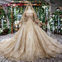 AXJFU Luxury princess gold lace princess boat neck beading gold flower sparkly with veil tail wedding dress 100% real photo 1400
