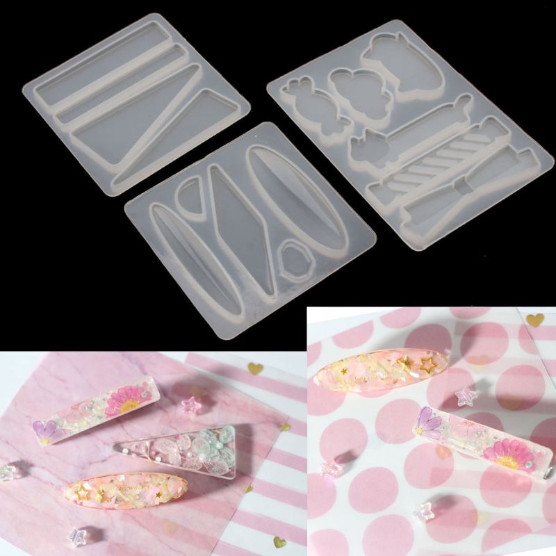 Handmade Acrylic Resin Hair Barrettes Resin Mold Geometric Shape  Alligator Hair Clips UV Epoxy Resin Mold Jewelry Tools