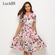 купить Brand Elegant O Neck A Line Party Dress Summer Vintage Slim Vestidos Women Dress Casual Short Sleeve Floral Printed Dresses по цене 1023.86 рублей