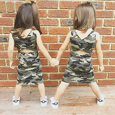 Toddler Kids Girl Summer Baby Sundress Party Casual Camouflage Backless Sheath O-neck Sleeveless Dresses 1-6Y