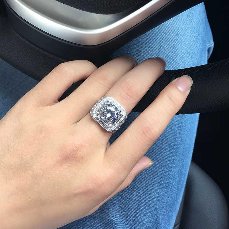 YANHUI Big Hip Hop ผู้ชาย Rhinestone Iced OUT Bling แหวน 925 เงิน Pave การตั้งค่า CZ หมั้นแหวนแหวนคุณภาพ