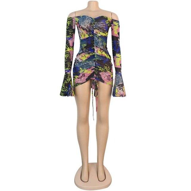 Snake Tie Dye Printed Ruch Drawstring Wrap Dress Woman Off Shoulder Long Flare Sleeve Sheath Dresses Retro Backless Robe Femme 6