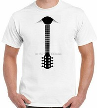 Guitar Tie Mens Funny T-Shirt Acoustic Electric Bass Fancy Dress Strings Free Shipping Tee Shirt(China)