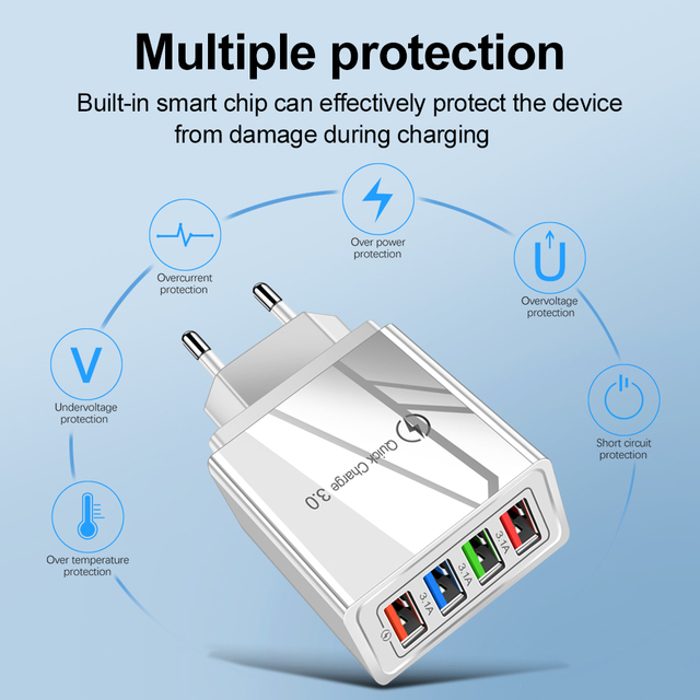 PMXBT Quick Charge 3.0 4.0 USB Charger Multi Port QC3.0 Fast Charging EU US Plug Wall Charger Adapter For iPhone Samsung Xiaomi