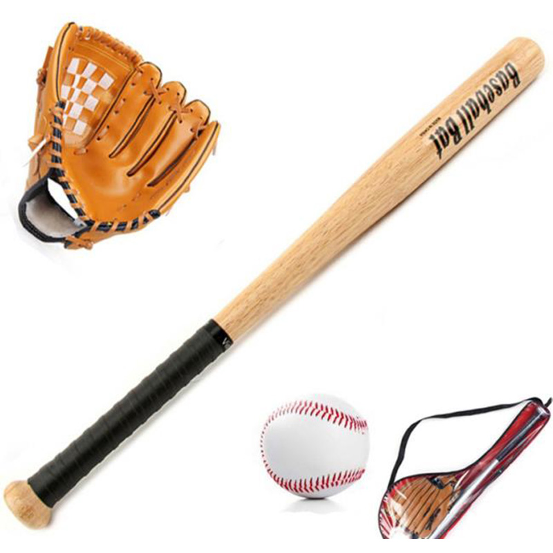 Kids Outdoor Professional 25 Inch Wood Baseball Bat And Softball Ball & Baseball Gloves Exercise Training Baseball Set With Bag,