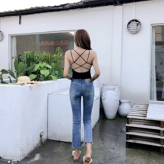 Été coréen dos croix beauté mince sous-vêtements épais sans fil une pièce soutien-gorge Boob bustier tubulaire femmes mi-long Camis