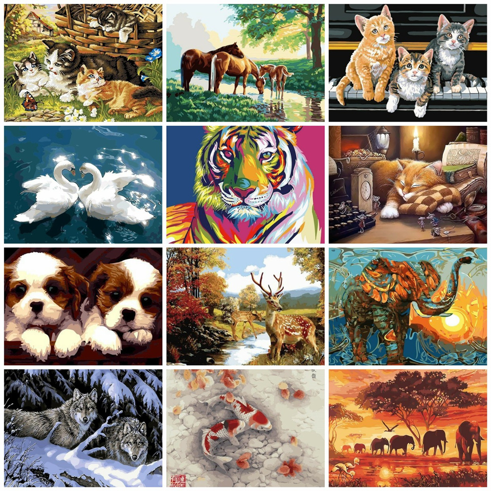 AZQSD Animals Painting By Number Elephant Acrylic Paint Decor Canvas Painting Coloring By Number Drawing Diy Szyh6185