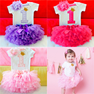 Baby Girl Clothes Toddler Girl 1 Year Birthday Dress My First Baby Princess Tutu Dress Infant Baptism Outfits Infantil Vestidos(China)