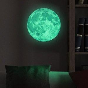 Светящаяся Луна 3D настенная Стикеры флуоресцентный светится в темноте с изображением луны и звезд, настенный Стикеры s Наклейки на стены для детской комнаты, украшение дома