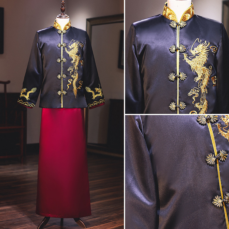 2020 Terno Noivo Colete Gravata Xiuhe 2020 Kimono Of Men's The Groom New Xi Tang Suit Chinese Style Wedding Dress Jacket Show