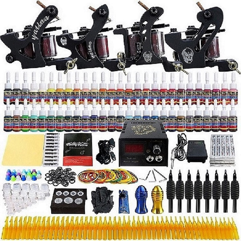 Tattoo Kit Professional 4 Tatto Machines 10 Coil Gun Power Supply Foot Pedal Ink Needle Tip Grip Accessories Set Tatoo Artists