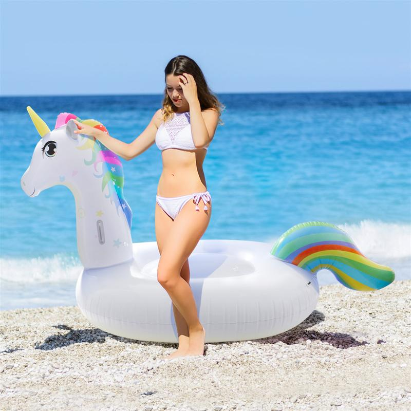 Toyvian Inflatable Pool Float Outdoor Swimming Pool Party Lounge Raft With Drinks Holder 270x120x140CM