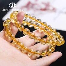 Jd tamanho completo natural jóias amarelo citrinos pedra quartzo grânulos soltos pulseira encantos yoga masculino e feminino meditação amuleto