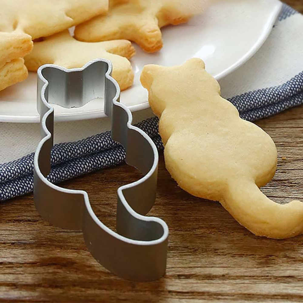 15 # Leuke Kitty Vorm Aluminium Cookie Mold Maker Metalen Deeg Cutter Gebak Bakken Kat Mould Sugarcraft Cake Mallen Hot koop