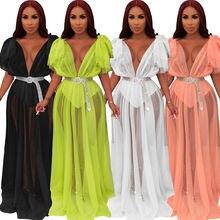 Пикантные прозрачные сетчатые длинное платье с v образным вырезом