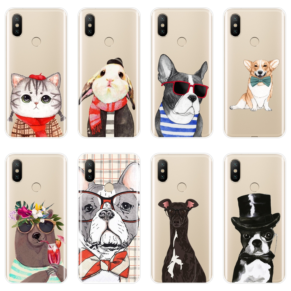 For <font><b>Xiaomi</b></font> <font><b>MI</b></font> 5 5C 5S 5X 6 6X Plus Case Silicone <font><b>Pug</b></font> Dog Cat Corgi Cute Soft Back <font><b>Cover</b></font> For <font><b>Xiaomi</b></font> <font><b>MI</b></font> A1 <font><b>A2</b></font> LITE 8 SE Phone Case image