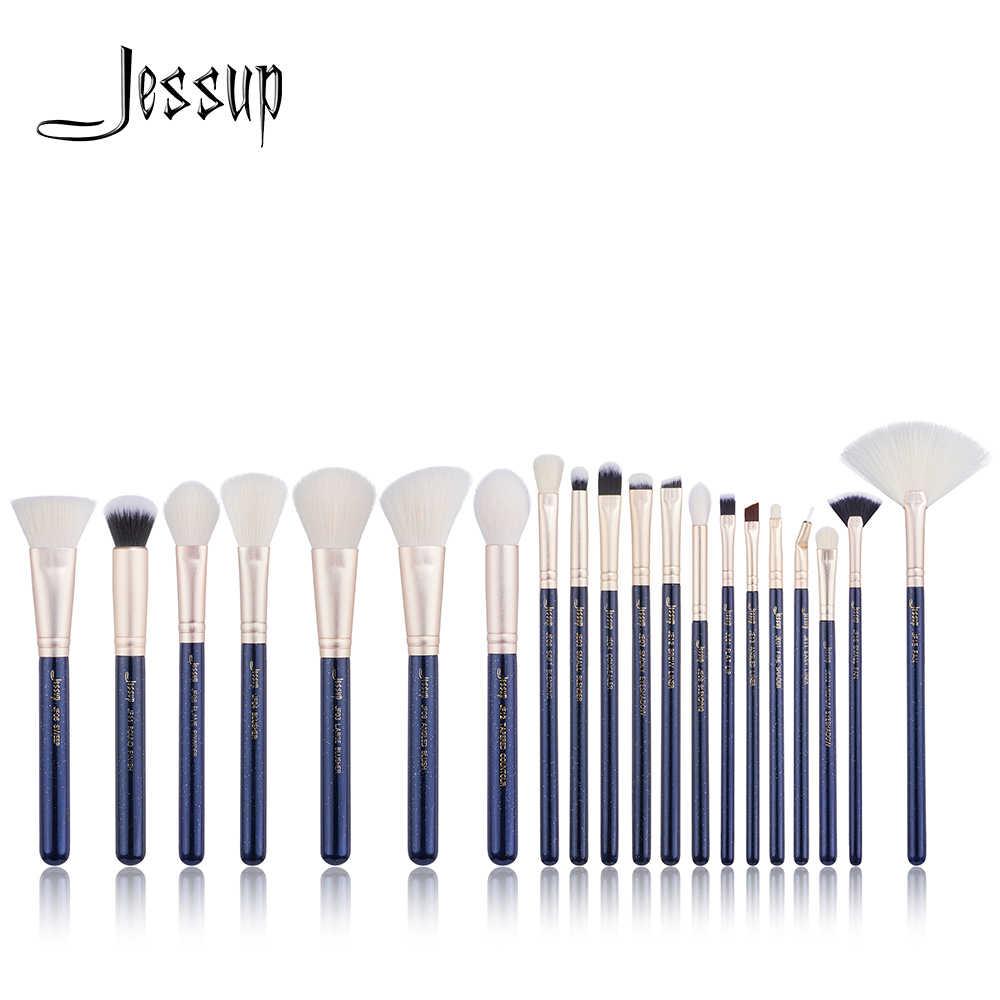 Jessup 20 pièces Bleu de Prusse/Sables D'or Professionnel pinceaux De Maquillage outils Cosmétiques maquillage brosse POUDRE FONDATION LÈVRE