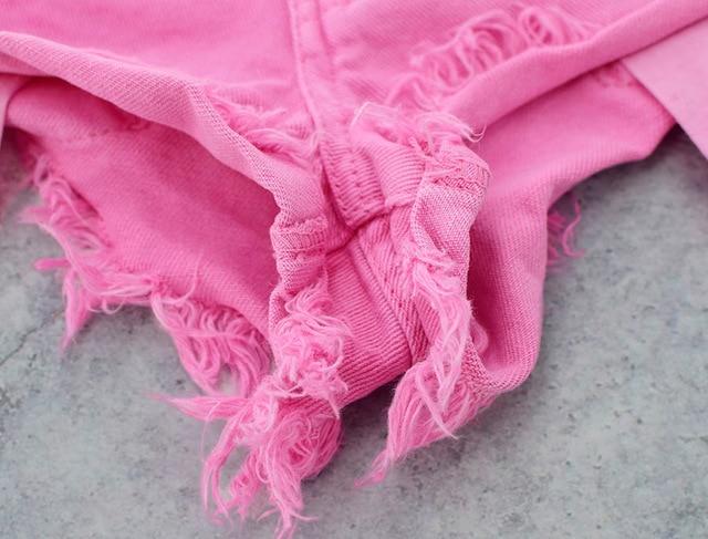 Low Waist Macaron Pink Jeans Shorts Women High Street Pantaloncini Donna Mujer Loose Summer Denim Shorts Korte Broek Vrouwen 6
